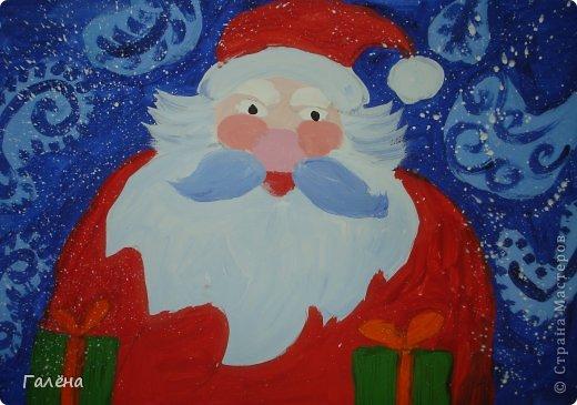 """Наступила зима,мы запаслись белой краской ( заканчивается очень быстро ) и стали активно рисовать Зимние мотивы. Эту """"Зимнюю деревушку"""" рисовали гуашью.В три этапа: фон,домики и свежевыпавший снег с тенями. фото 7"""