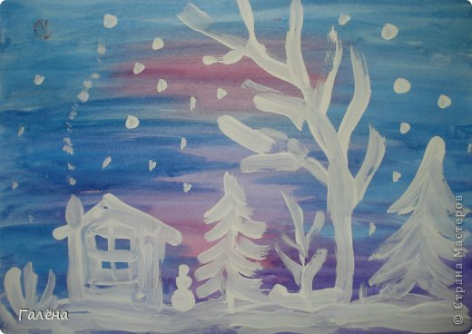 """Наступила зима,мы запаслись белой краской ( заканчивается очень быстро ) и стали активно рисовать Зимние мотивы. Эту """"Зимнюю деревушку"""" рисовали гуашью.В три этапа: фон,домики и свежевыпавший снег с тенями. фото 5"""