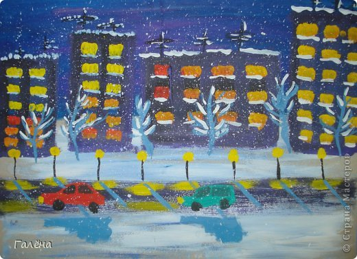 """Наступила зима,мы запаслись белой краской ( заканчивается очень быстро ) и стали активно рисовать Зимние мотивы. Эту """"Зимнюю деревушку"""" рисовали гуашью.В три этапа: фон,домики и свежевыпавший снег с тенями. фото 4"""