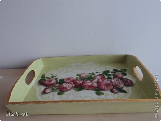 Поднос,салфетка,акриловые краски,лак фото 3