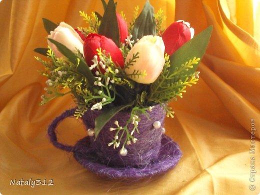 Проволока, сизаль, немного бусин и искусственные цветы. фото 3