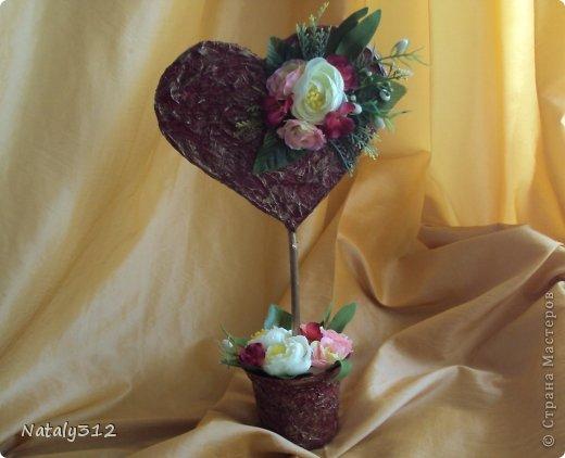 """Такие вот сердечные """"комплименты"""" приготовила ко Дню Св. Валентина. Сердца из пеноплэкса и салфеток, цветы искусственные. фото 4"""