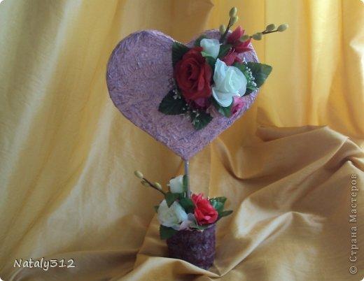 """Такие вот сердечные """"комплименты"""" приготовила ко Дню Св. Валентина. Сердца из пеноплэкса и салфеток, цветы искусственные. фото 5"""