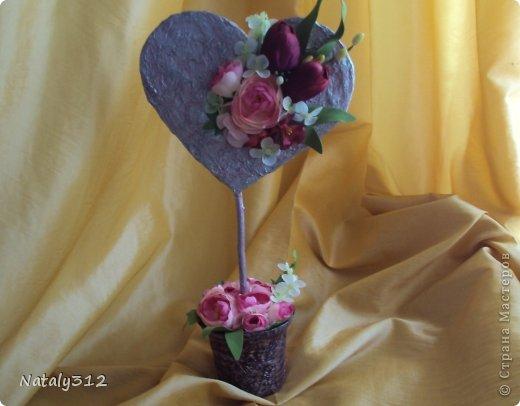 """Такие вот сердечные """"комплименты"""" приготовила ко Дню Св. Валентина. Сердца из пеноплэкса и салфеток, цветы искусственные. фото 6"""