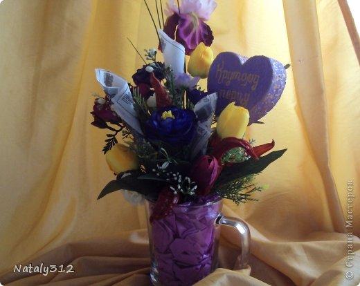 """Такие вот сердечные """"комплименты"""" приготовила ко Дню Св. Валентина. Сердца из пеноплэкса и салфеток, цветы искусственные. фото 16"""