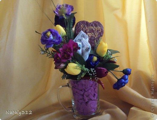 """Такие вот сердечные """"комплименты"""" приготовила ко Дню Св. Валентина. Сердца из пеноплэкса и салфеток, цветы искусственные. фото 17"""