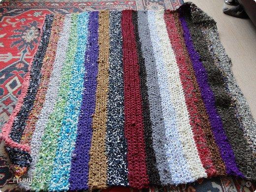 Вязание крючком коврик из ткани