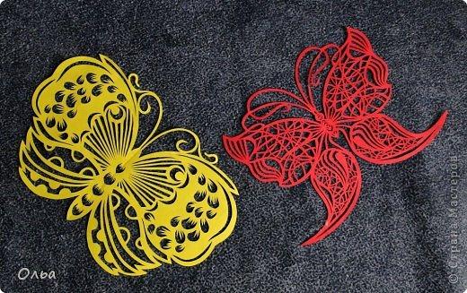 Поделка изделие Вырезание Цветные бабочки Бумага фото 1