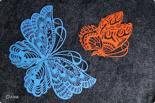 Поделка изделие Вырезание Цветные бабочки Бумага фото 3
