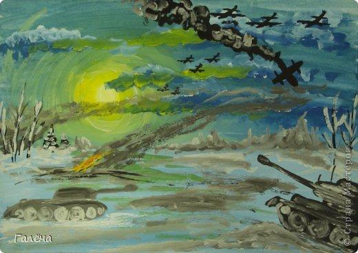 """Наступила зима,мы запаслись белой краской ( заканчивается очень быстро ) и стали активно рисовать Зимние мотивы. Эту """"Зимнюю деревушку"""" рисовали гуашью.В три этапа: фон,домики и свежевыпавший снег с тенями. фото 19"""
