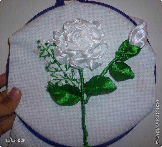 Картина из лент розы