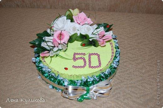 Торт на 50 лет женщине своими руками из конфет 19