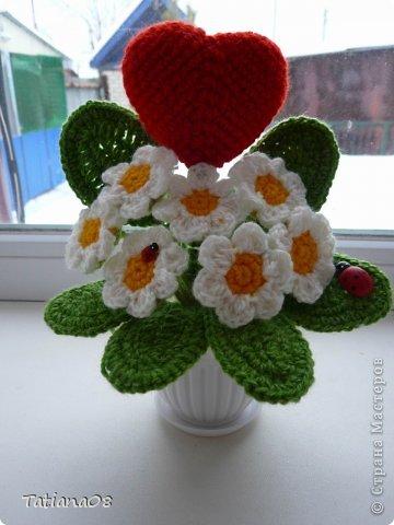 Поделка изделие Валентинов день Вязание крючком Валентинки Пряжа