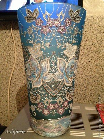 Моя новая вазочка к юбилею приятельницы. Надеюсь понравится