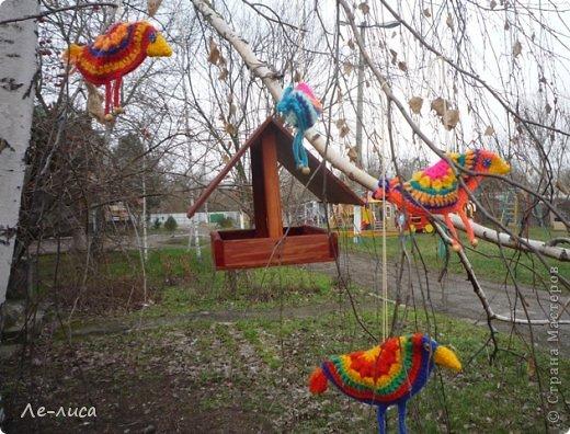 Гуляя по просторам интернета, наткнулась на совершенно чумовых, безумно позитивных птичек в обожаемом мною наивном стиле, которых мастерица назвала журавликами. Ручки, конечно же, сразу зачесались и у меня буквально за день родилась стая. Вот ссылка на МК автора http://ru-knitting.livejournal.com/4526926.html. Спасибо ей огромное. Но мне были нужны большие птицы из толстых ниток, поэтому я кое-что убрала, кое-что прибавила. То, что получилось, на журавликов никак не походило. фото 4