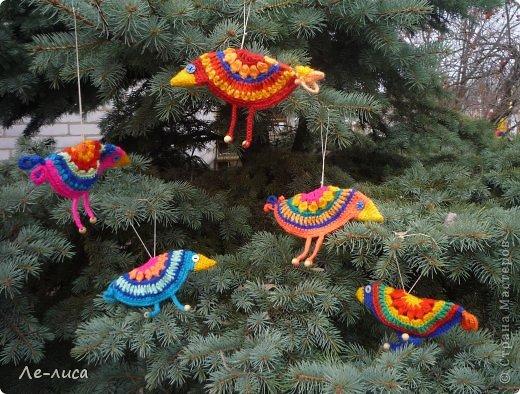 Гуляя по просторам интернета, наткнулась на совершенно чумовых, безумно позитивных птичек в обожаемом мною наивном стиле, которых мастерица назвала журавликами. Ручки, конечно же, сразу зачесались и у меня буквально за день родилась стая. Вот ссылка на МК автора http://ru-knitting.livejournal.com/4526926.html. Спасибо ей огромное. Но мне были нужны большие птицы из толстых ниток, поэтому я кое-что убрала, кое-что прибавила. То, что получилось, на журавликов никак не походило. фото 5