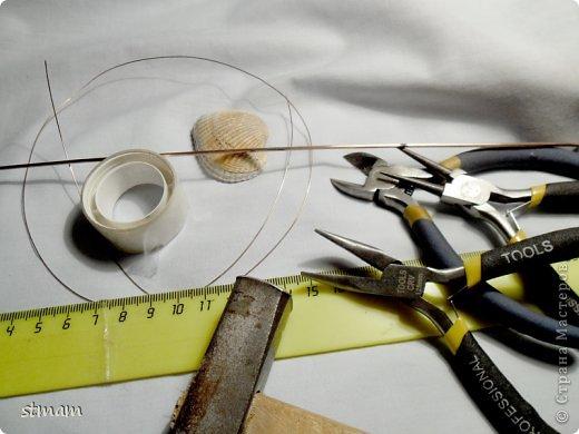 Будем делать кулон из ракушки и медной проволоки. Кулон в готовом виде. фото 2
