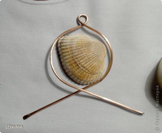 Будем делать кулон из ракушки и медной проволоки. Кулон в готовом виде. фото 9