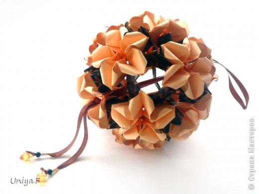 Привет друзьям!  Кусудама, про которую я решилась вам напомнить, была придумана год назад. И в силу определенных обстоятельств туториал на нее был размещен в All-origami. И, к большому сожалению, про кусудаму забыли. А она, честное слово, очень красивая. Ее можно сравнить с Монблосс и Азалией Татьяны Высочиной. Такая же цветочная и воздушная.  Поэтому, зная, что вы сейчас готовите весенние подарки, я решила выложить в СМ повторный МК. Буду рада, если он вам пригодится.  Name: Wild Rose Designer: Uniya Filonova Parts: 30 + 60 Paper: 6,5*6,5 + 8,5*8,5 Final height: 12 сm Assembled without glue.  модель принимала участие во флешмобе http://stranamasterov.ru/node/547199?tid=2168%2C850 фото 1