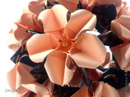 Привет друзьям!  Кусудама, про которую я решилась вам напомнить, была придумана год назад. И в силу определенных обстоятельств туториал на нее был размещен в All-origami. И, к большому сожалению, про кусудаму забыли. А она, честное слово, очень красивая. Ее можно сравнить с Монблосс и Азалией Татьяны Высочиной. Такая же цветочная и воздушная.  Поэтому, зная, что вы сейчас готовите весенние подарки, я решила выложить в СМ повторный МК. Буду рада, если он вам пригодится.  Name: Wild Rose Designer: Uniya Filonova Parts: 30 + 60 Paper: 6,5*6,5 + 8,5*8,5 Final height: 12 сm Assembled without glue.  модель принимала участие во флешмобе http://stranamasterov.ru/node/547199?tid=2168%2C850 фото 2