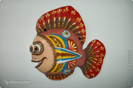 Рыбка - панно.14х14 см. Краски- акрил,гуашь.