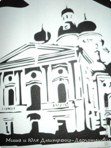 Картина панно рисунок Поделка изделие Вырезание Лепка Владимирский собор и мини-подсвечник Глина Картон фото 3