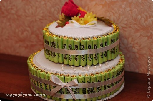 Вот такой тортик я сделала на день рождения своей мамули! В нем 2 кг конфет фирмы РОШЕН, ленты с конфетами съемные, внутри шкатулка!!!