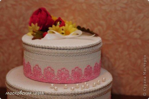 Вот такой тортик я сделала на день рождения своей мамули! В нем 2 кг конфет фирмы РОШЕН, ленты с конфетами съемные, внутри шкатулка!!! фото 4