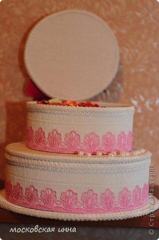 Вот такой тортик я сделала на день рождения своей мамули! В нем 2 кг конфет фирмы РОШЕН, ленты с конфетами съемные, внутри шкатулка!!! фото 7