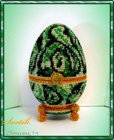 Поделка изделие Пасха Бисероплетение шкатулка-яйцо малахитовое из бисера Бисер фото 1.
