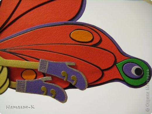 Продолжение...... серии поделок, которые уезжают на постоянное место жительства к внучке, к моей заказчице. Собираю их всех здесь   http://stranamasterov.ru/node/488600 Размер бабочки 20 х 20 см. Сделана из цветной бумаги плотностью 270 гр. (картон) фото 6