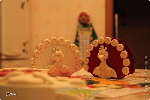 Декор предметов Поделка изделие 8 марта Лепка Роспись Павлины-салфетницы к 8 марта Мой опыт Краска Тесто соленое фото 4