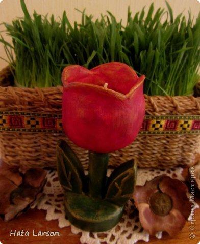 Мастер-класс Поделка изделие 8 марта День рождения Подсвечник-тюльпан Бумага Гипс Картон Клей Краска Салфетки фото 1
