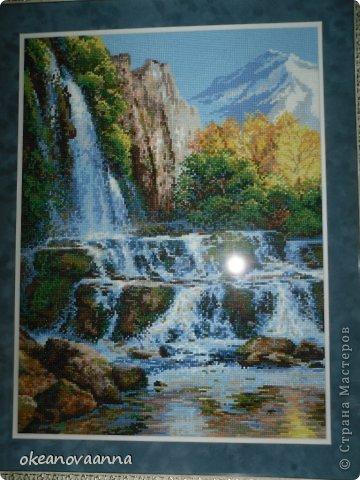 Вышивка крестом водопад