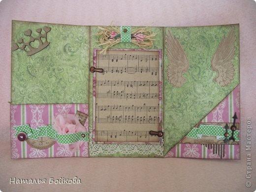 Здравствуйте, девочки! Такую открытку-миник решили мы сделать бабушке на 8 марта. МК по форме здесь http://stampomania-challenge.blogspot.ru/2011/10/lilavadi.html фото 1