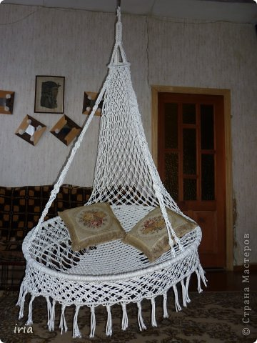 Подвесное кресло из макраме .