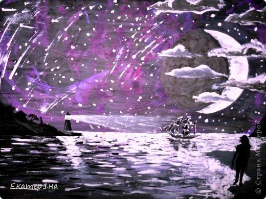 Рисунок выполнен гуашью белый акрил