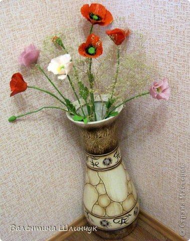 Уж очень мне хотелось слепить маки в напольную вазу....и вот что у меня получилось...