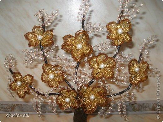 Бонсай топиарий Бисероплетение Золотое дерево Бисер фото 3.
