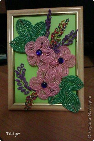 Картина панно рисунок Бисероплетение Цветы из бисера в рамке Бисер.