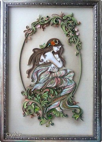 Картина панно рисунок 8 марта День матери Квиллинг НЕЖНОСТЬ Бумажные полосы фото 1