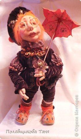 """Скульптурный текстиль. Авторская кукла: """"Рыжий дождик"""". фото 2"""
