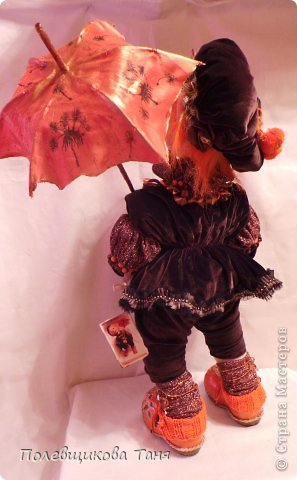 """Скульптурный текстиль. Авторская кукла: """"Рыжий дождик"""". фото 5"""