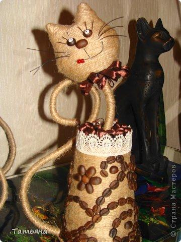 Коты из бутылок и шпагата своими руками
