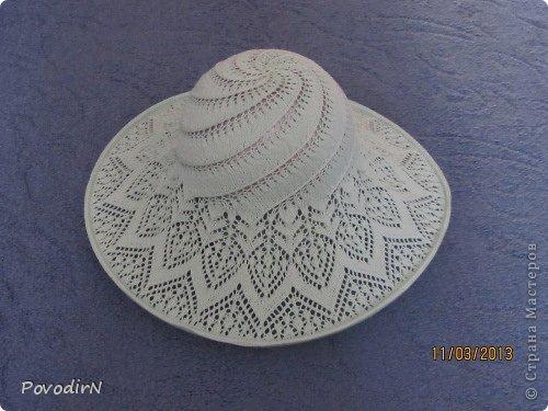 Гардероб Вязание спицами Ажурная летняя шляпка Пряжа фото 3