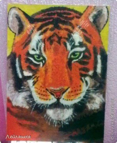 Мой черно-белый тигр не давал покоя моей хорошей знакомой - пришлось выполнить ее просьбу и слепить еще одного тигра))) Для разнообразия сделала цветного... фото 1