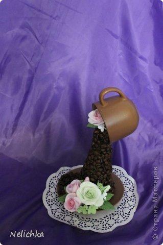 Кофейная чашка с розами из Деко. фото 3