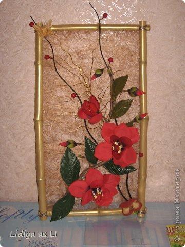 Это панно попросили сделать на юбилей женщины. Использовала бамбук - покрасила золотой краской, сезаль, искуственные цветы и декор. фото 2