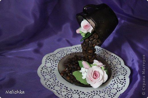Кофейная чашка с розами из Деко. фото 7