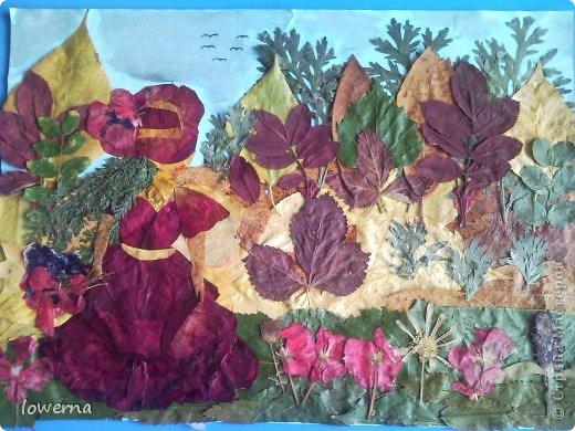 """Картина из листьев """"Осень"""". Увидела в просторах интернета подобную картину (не помню где, возможно и на этом сайте) и очень захотелось повторить!!! фото 1"""